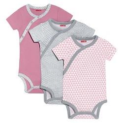 Skip Hop Baby Girls' Long Sleeve Side Snap Bodysuits 3pk - Pink