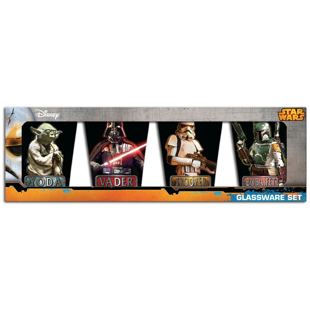 Star Wars Multicolored Star Wars Mini Glass 4 pack, Assorted