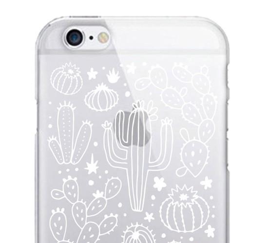 iPhone 7/6s/6 OTM Prints Clear Phone Case Desert Cacti Outlined Black - OTM Essentials®