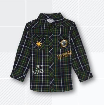 Toddler Boys' Harry Potter Slytherin Flannel Long Sleeve Shirt - Green