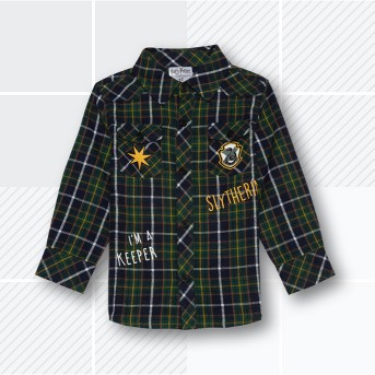 Toddler Boys' Harry Potter Slytherin Flannel Long Sleeve Shirt - Green
