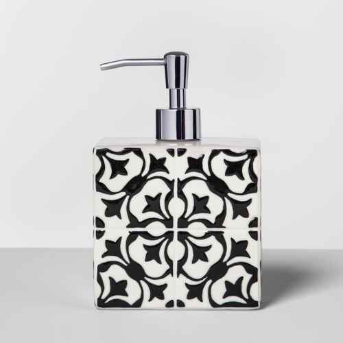 Mallorca Ceramic With Faux Mosaic Look Soap/Lotion Dispenser White - Opalhouse™