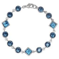 Fine Jewelry Silver - Plated Bangle Bracelet - Blue