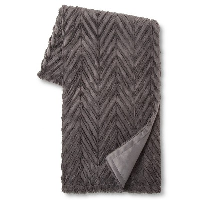 Charcoal Chevron Faux Fur Throw (50 x60 )- Xhilaration™