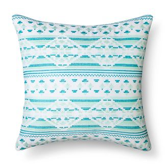 Blue & Green Embroidered Throw Pillow (14.6