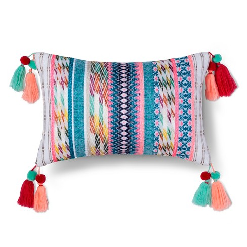 "Yarn Dyed Texture Tassel Pillow (17.7""x10.4"") - Xhilaration™ - image 1 of 1"