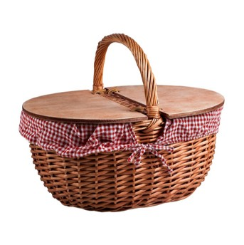 Picnic Time Country Basket - Red and White Gingham