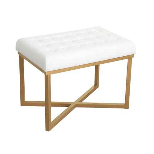 Rectangle Ottoman Velvet Tufted Cushion and Gold Metal X Base - HomePop