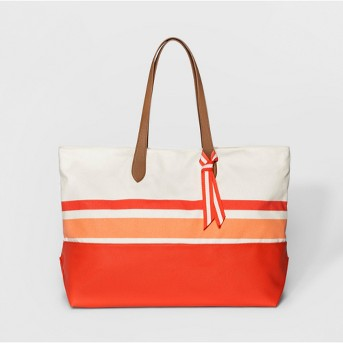 Canvas Striped Oversized Tote Handbag - A New Day™