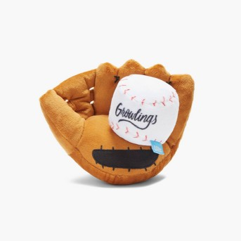 BARK Baseball and Glove Dog Toy - Growlings Baseball Glove