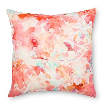 Coral Watercolor Print Throw Pillow (18 x18 )- Xhilaration™