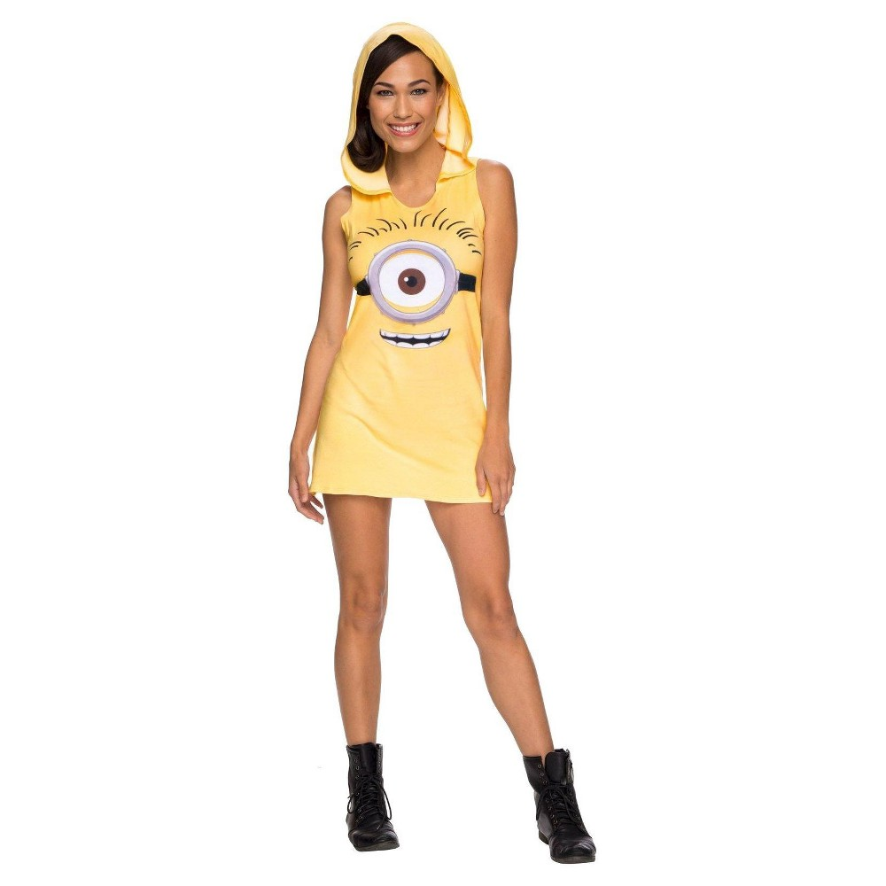Womens Minions Movie: Minion Hooded Tank Dress Costume - Medium, Yellow