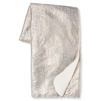 Gray & Gold Metallic Jersey Throw (50 x60 )- Xhilaration™
