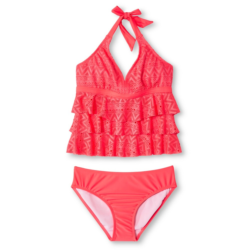 Plus Size Girls' Plus 2-Piece Crochet Tankini Circo - Guava Berry 12 Plu Pink plus size,  plus size fashion plus size appare