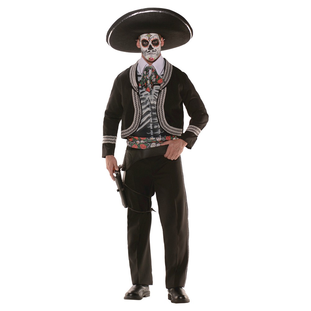 Mens Day Of The Dead Costume - One Size Fits Most, Black