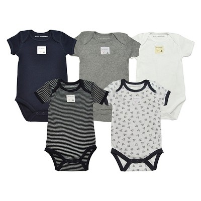 Burt's Bees Baby® Organic Cotton Short Sleeve 5pk Bodysuit Set Solid/Stripes - Healther Gray/Midnight Blue