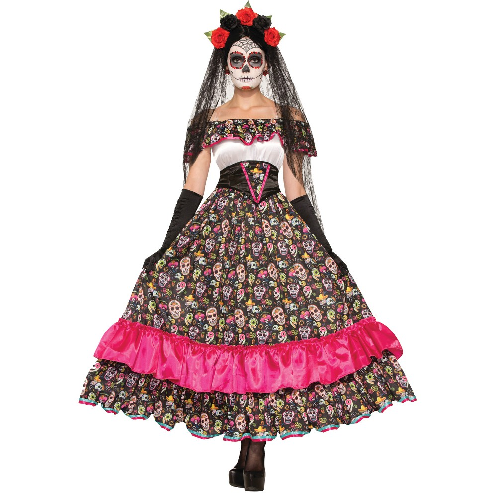 Womens Day Of Dead Senorita Costume, Pink
