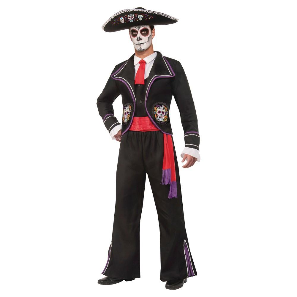 Mens Day Of the Dead Mariachi Macabre Costume, Black
