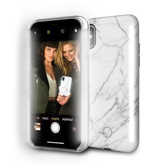 LuMee Duo Apple iPhone X Case - White Marble