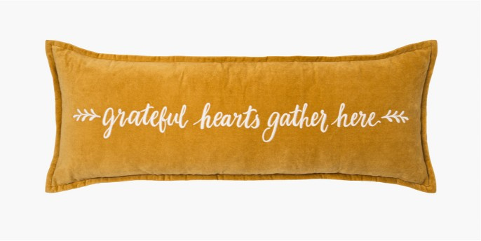 'Grateful Hearts' Embroidered Velvet Oversized Lumbar Throw Pillow Gold - Threshold™