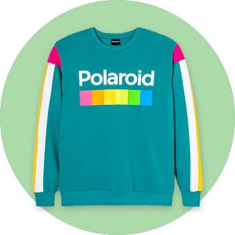 Men's Long Sleeve Polaroid Fleece Crew Pullover Sweatshirt - Teal