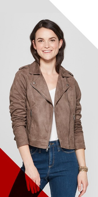 Women's Suede Moto Jacket - A New Day™