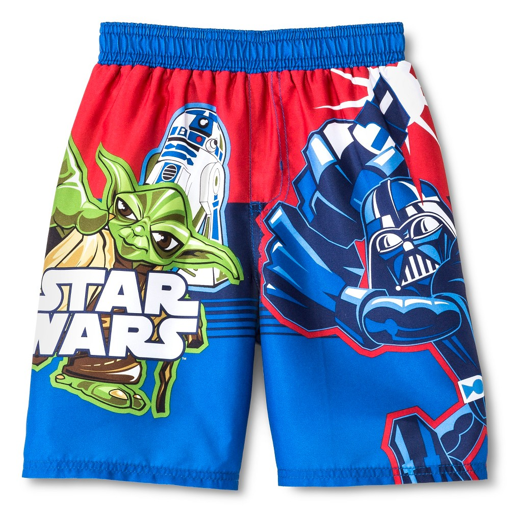 Star Wars Boys Swim Trunks Blue/Red 4T, Multicolored