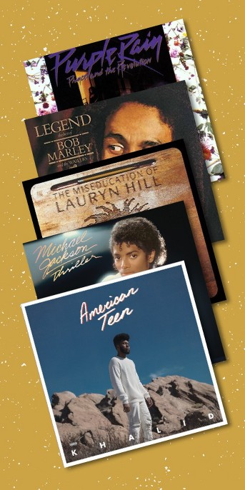 Prince - Purple Rain (Vinyl), The Best of Bob Marley and the Wailers - Legend (Vinyl), Lauryn Hill - The Miseducation of Lauryn Hill (Vinyl), Michael jackson - Thriller (Vinyl), Khalid American Teen (Vinyl) (Target Exclusive Translucent Blue)