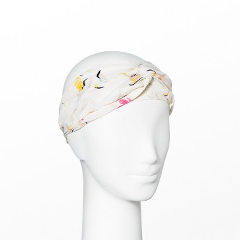 Women's Floral Print Twist Front Headband - A New Day™ White One Size