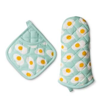 2pc Kitchen Textile Aqua - Room Essentials™