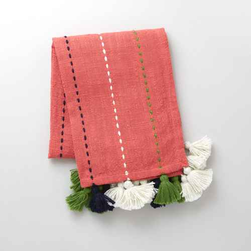 "50"" x 60"" Multi-Tassel Outdoor Throw Coral - Opalhouse™"