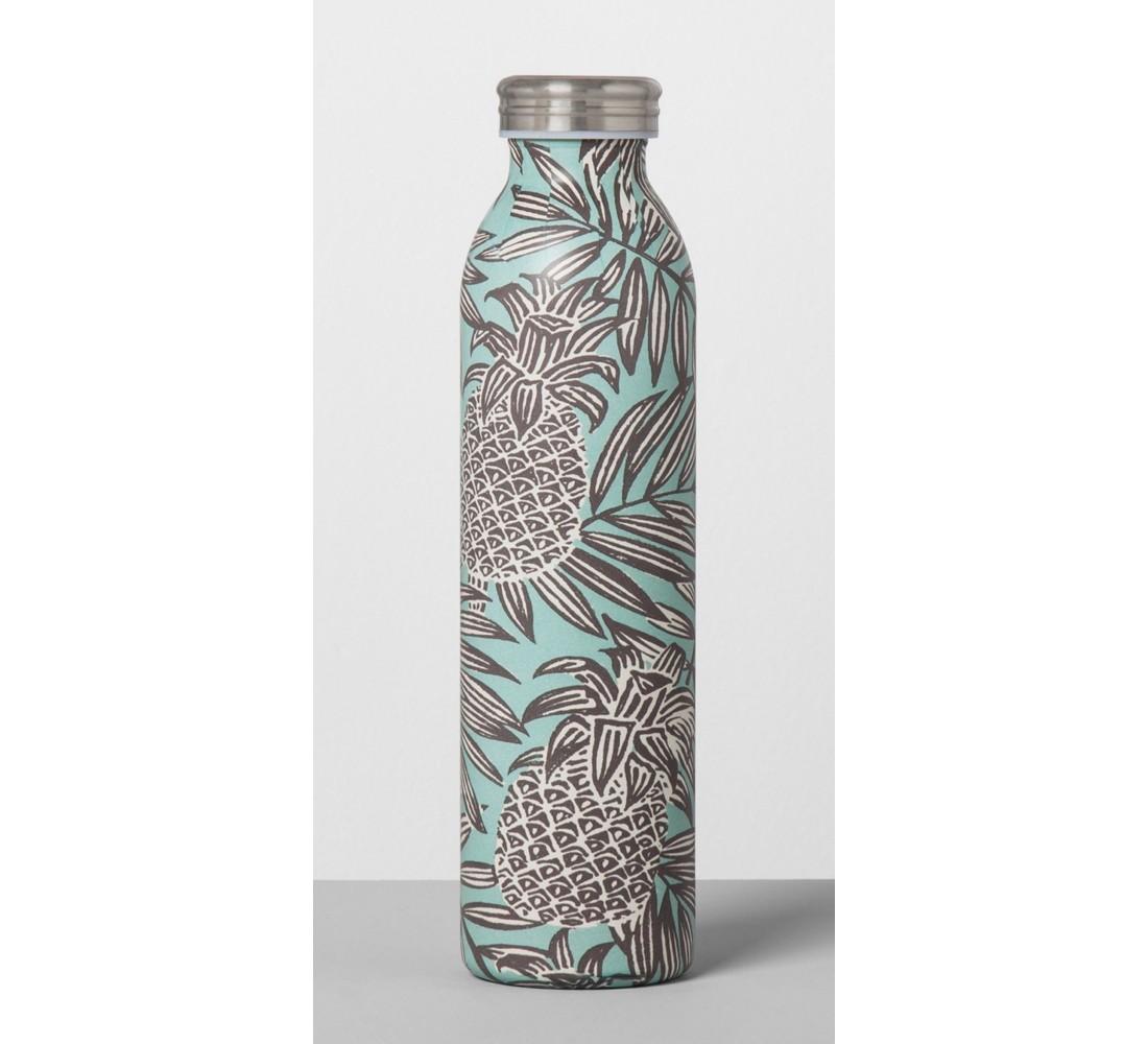Stainless Steel Water Bottle 20oz - Pineapple Teal/Gray