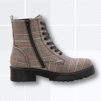 Women's Dayton Plaid Combat Boots - Wild Fable™ Gray