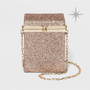 Box Minaudiere Clutch Crossbody Bag - A New Day™ Rose Gold