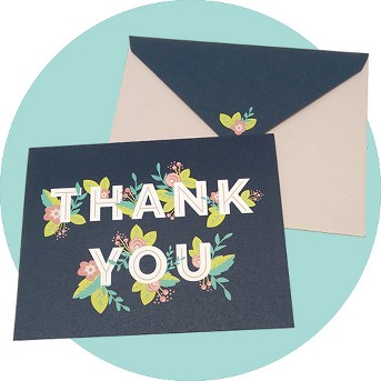 10ct Hidden Flowers Thank You Cards - Green Inspired