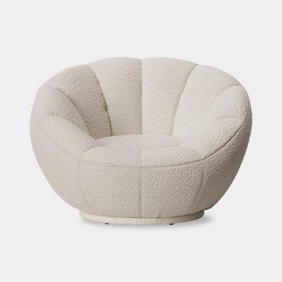 Low-Profile Swivel Tulip Chair White Sherpa - Room Essentials™