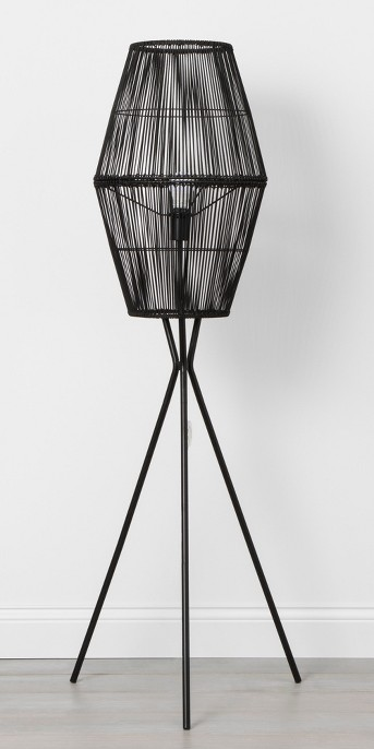 Rattan Diamond Tripod Floor Lamp Black - Opalhouse™