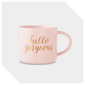 15oz Porcelain Hello Gorgeous Stackable Mug Pink/Gold - Threshold™