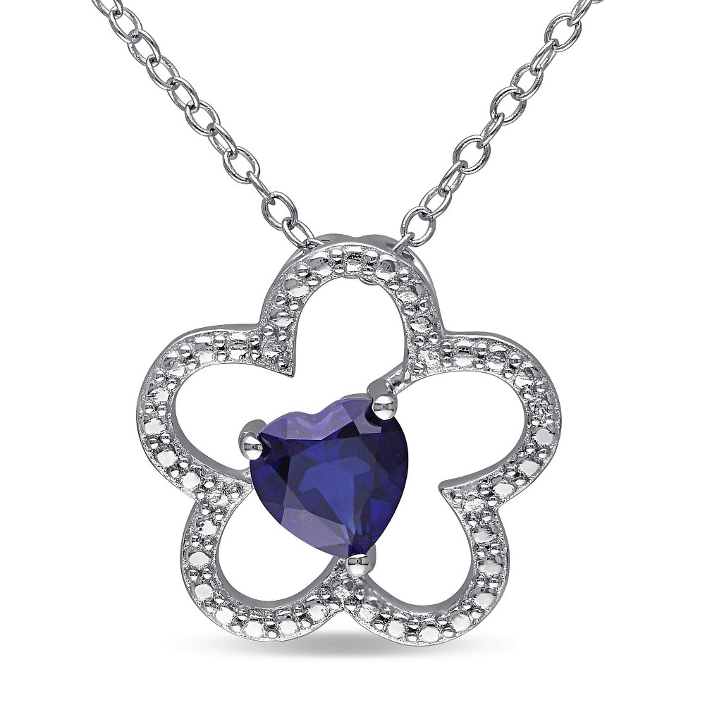 1 CT. T.W. Simulated Blue Sapphire Triple Heart Necklace in Sterling Silver - Sapphire, Womens
