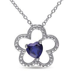 1 CT. T.W. Simulated Blue Sapphire Triple Heart Necklace in Sterling Silver - Sapphire