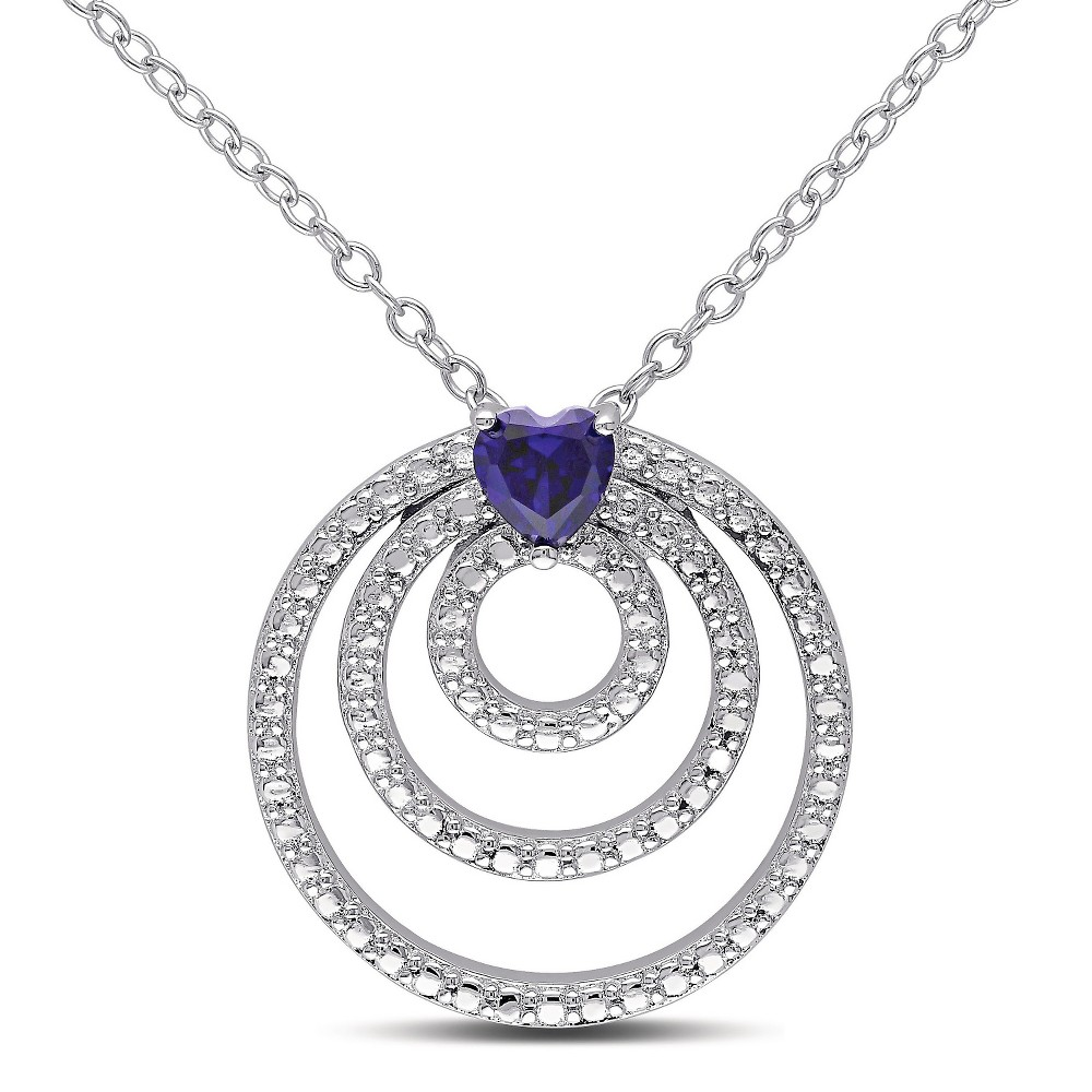1/3 CT. T.W. Simulated Sapphire Trio Circle Necklace in Sterling Silver - Sapphire, Womens