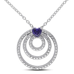 1/3 CT. T.W. Simulated Sapphire Trio Circle Necklace in Sterling Silver - Sapphire