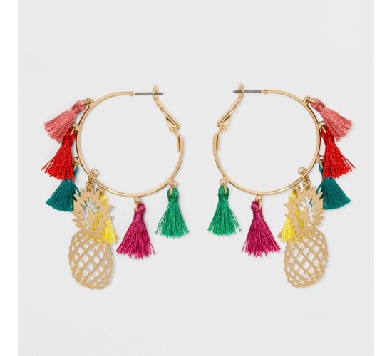 SUGARFIX by BaubleBar Tassel Hoop Pineapple Earrings