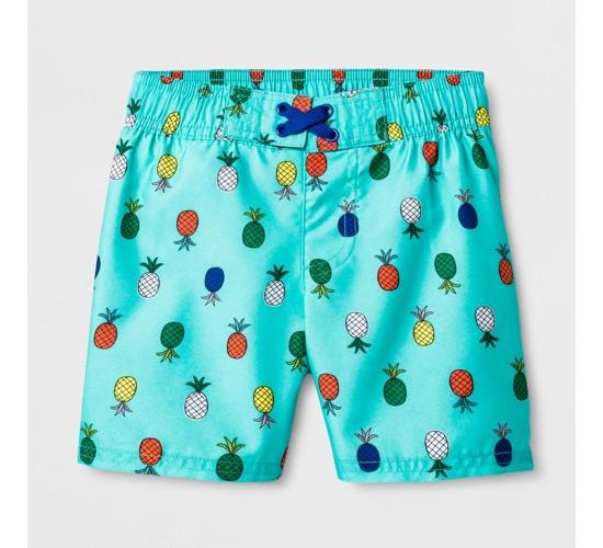 Toddler Boys' Pineapple Swim Trunks - Cat & Jack™ Aqua