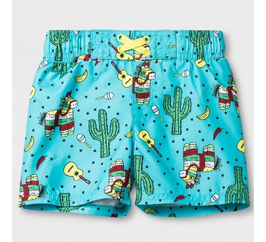 Baby Boys' Cactus Swim Trunks - Cat & Jack™ Aqua
