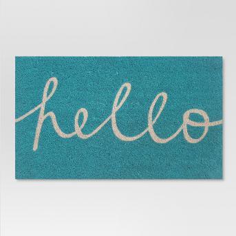 Blue Hello Cursive Doormat 1'6