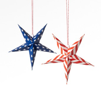 2ct 4th of July Paper Star, Stars and Stripes - Sun Squad™