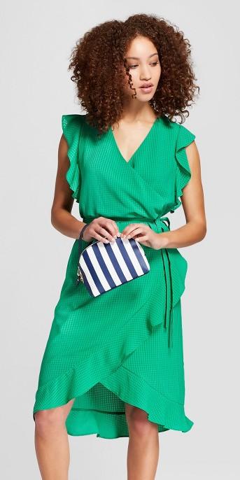 Women's Short Sleeve Ruffle Wrap Dress - A New Day™ Green