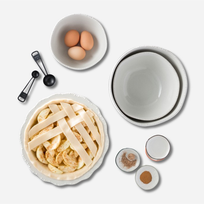 Stoneware Pie Pan - Cream - Hearth & Hand™ with Magnolia, Measuring Spoons 5pc - Black - Hearth & Hand™ with Magnolia, Stoneware Mini Plate Set of 4 - Hearth & Hand™ with Magnolia, Stoneware Mixing Bowl Set 3pc - Cream - Hearth & Hand™ with Magnolia