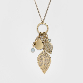 Hanging Leaves and Channels Long Necklace - A New Day™ Gold
